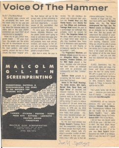 Article - Jan 1991 - Voice of the Hammer - Article by B. F. (The Mole) Mowat