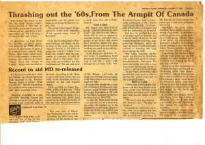 Article: Thrashing out the '60s, From The Armpit Of Canada