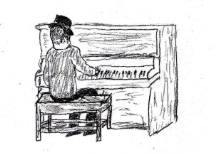 Piano Player - drawing by Harvey Dog 2019
