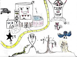 Dystopian Realities - drawing by Harvey Dog 2019