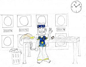 Hippie at the Laundromat - drawing by Harvey Dog 2020