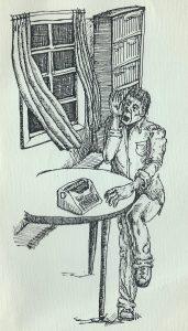I Talk To My Muse - drawing by John Kinsella