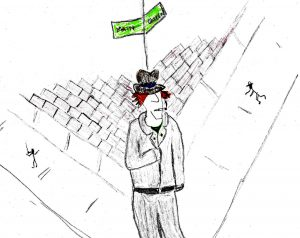 Man on the Corner - drawing by Harvey Dog 2020