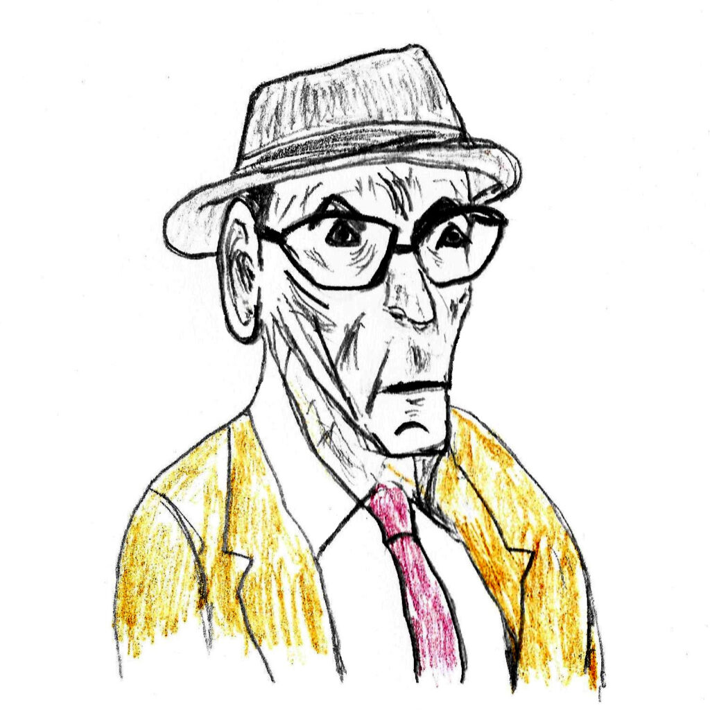 William S. Burroughs - drawing by Harvey Dog 2020