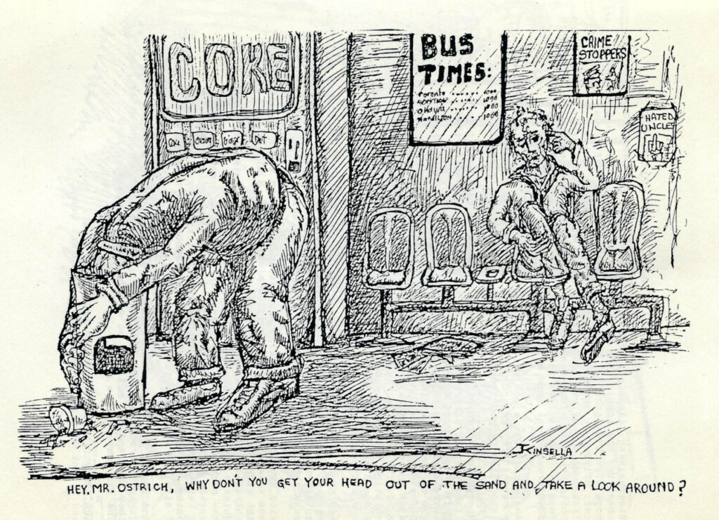 Hey Mr. Ostrich - drawing by John Kinsella 1989