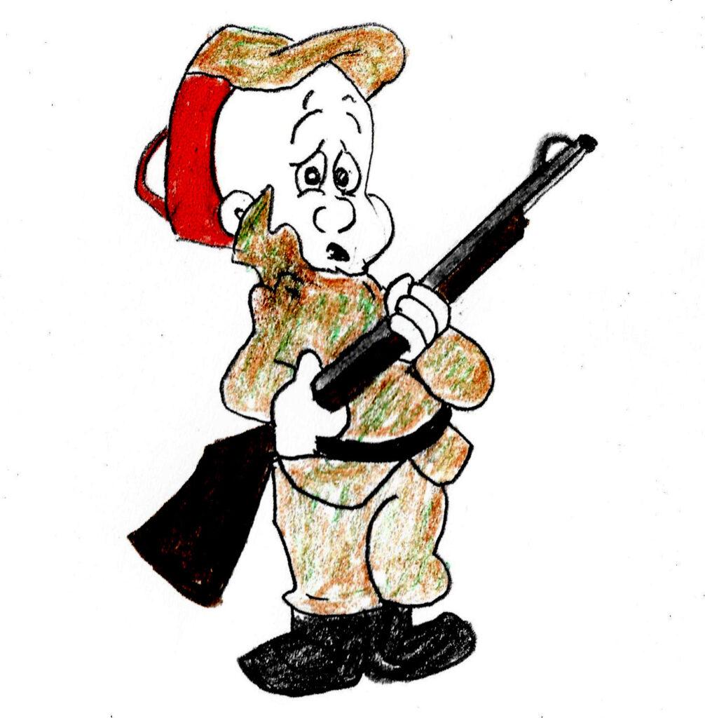 Put Down That Gun - drawing by Harvey Dog 2021
