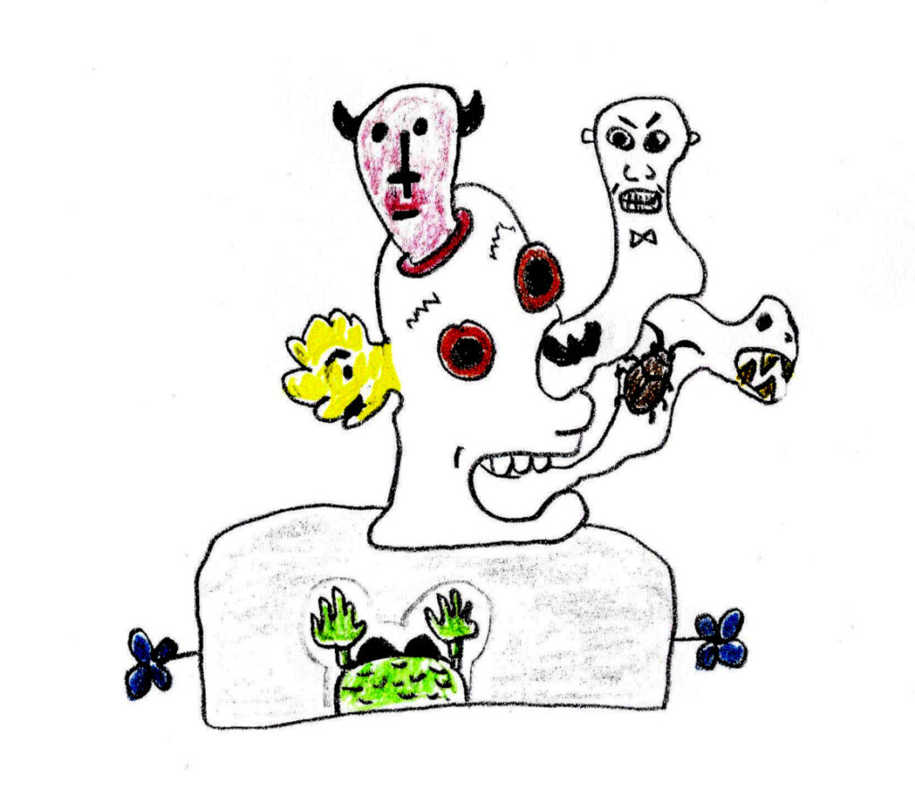 Soma Induced Hallucinations- drawing by Harvey Dog 2021